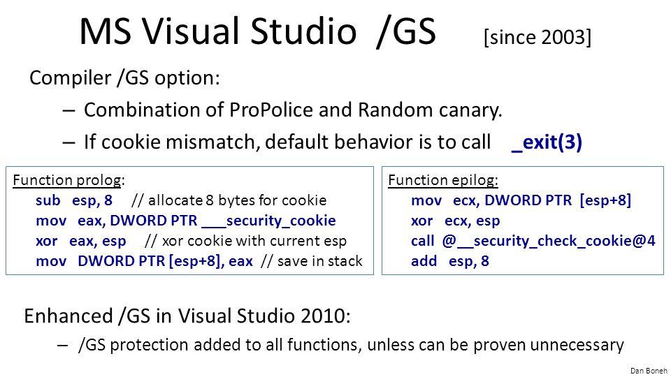 MS Visual Studio /GS [since 2003]